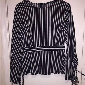 NWOT Striped Blouse Tie Sleeve Blouse Long Sleeve